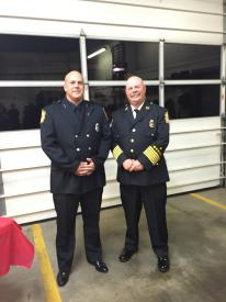 Engineer Aaron Kennedy was recognized  for 5 years of service to the department. Engineer Kennedy with Fire Chief Webster