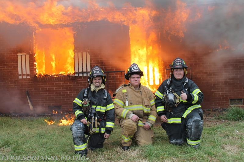 "Firefighters Josh Nichols, Karson McEvoy and Hunter ""Thumbs Up Russell"" Drye"