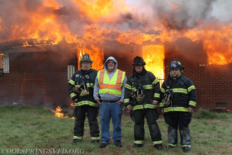 "Deputy Chief Tom Groff, Engineer and Incident Commander for this training evolution Todd Bowers, Captain Teague and Firefighter John ""Cookie Monster"" Shumaker"