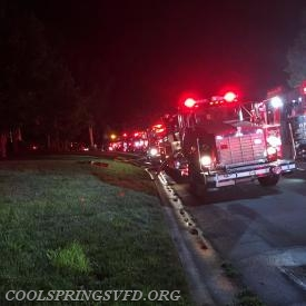Tanker 1 in line with Tankers from Lake Norman, Mount Mourne, Troutman, South Iredell, Shepherds and West Rowan.