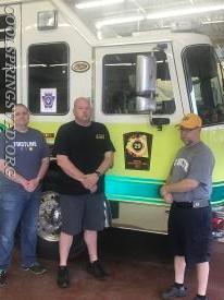 Jonathan, Tom and Brad posing with a nice KME Tanker