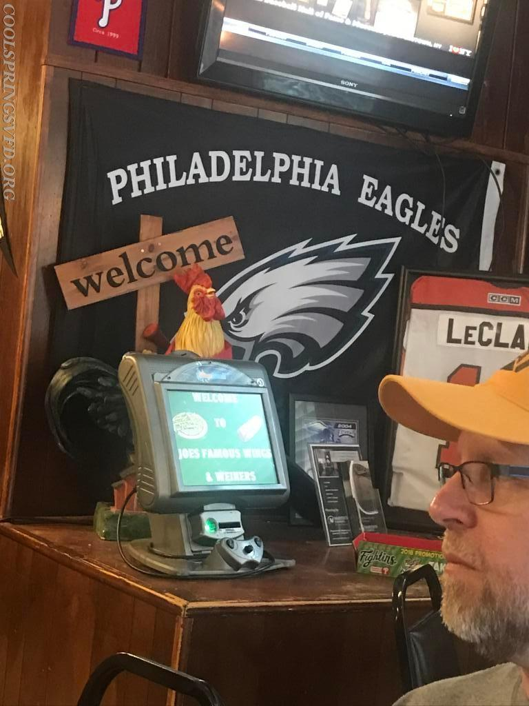 Food was great but wouldn't you know it was an Eagles hangout.